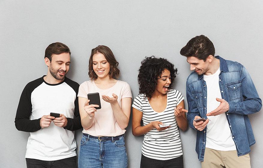 Friends talking using on phones